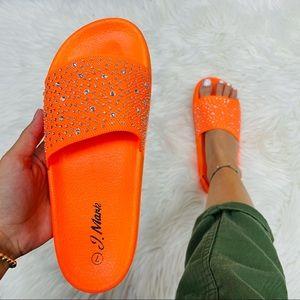 Neon orange rhinestoned slide